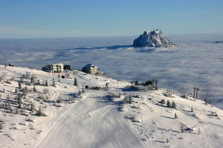 Feuerkogel piste above clouds