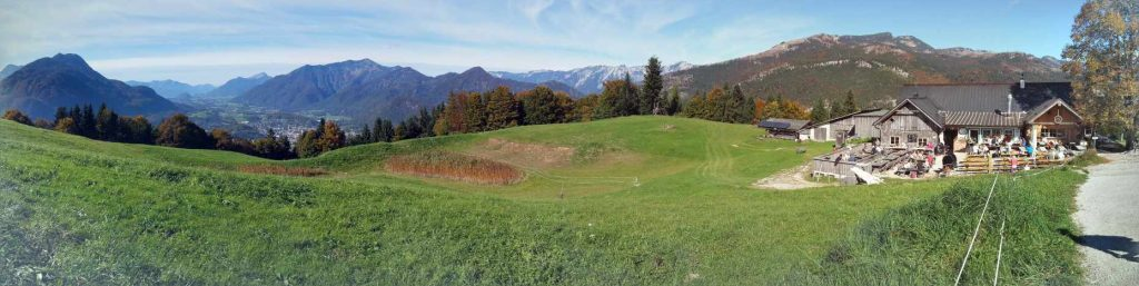 Austrian Alpine Alm with a beautiful panoramic view to Wolfgang lake and Schafberg
