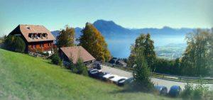 Alpine Alm with views onto Traunstein in Austria