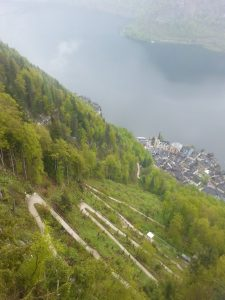 The winding path up to the tourist salt mine from Hallstatt village is pretty, informative and spectacular.